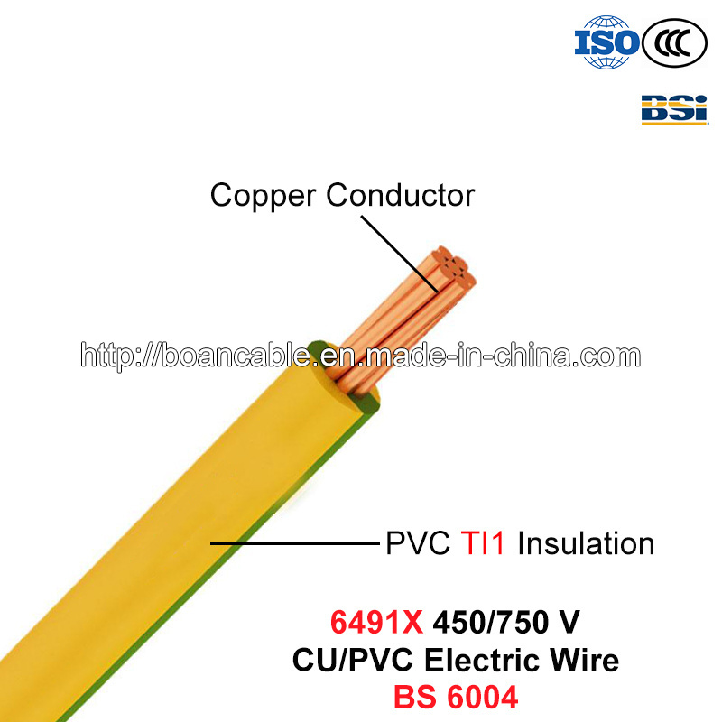 6491X, Electric Wire, House Wiring, 450/750 V, Cu/PVC Cable (BS 6004)