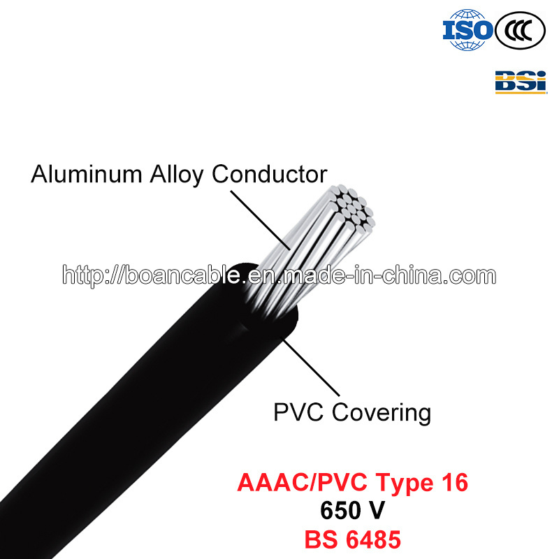 AAAC/PVC Type 16, PVC Covered Conductors for Overhead Power Lines, 650 V (BS 6485)