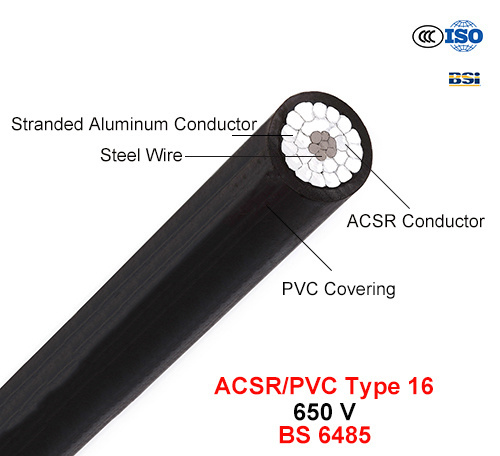 ACSR/PVC Type 16, PVC Covered Conductors for Overhead Power Lines, 650 V (BS 6485)