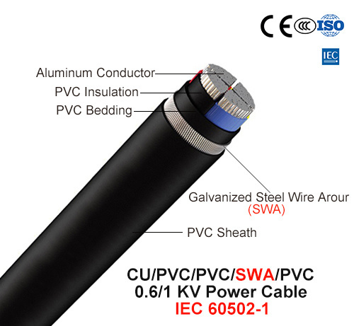 Al/PVC/Swa/PVC, 0.6/1 Kv, Steel Wire Armored Power Cable (IEC 60502-1)