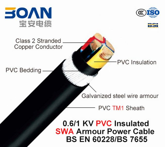 Al/XLPE/Swa/PVC, 0.6/1 Kv, 3*16+1*10, Steel Wire Armored (SWA) Power Cable (IEC 60502-1)