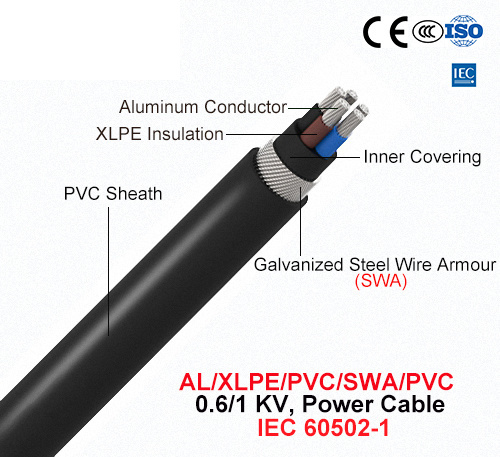 Al/XLPE/Swa/PVC, 0.6/1 Kv, Steel Wire Armored (SWA) Power Cable (IEC 60502-1)