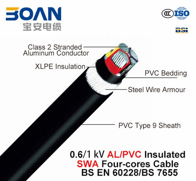 Al/XLPE/Swa/PVC, 0.6/1kv, Low Voltage Power Cable, IEC Standard, Steel Wire Armored