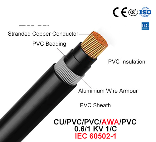 Cu/PVC/PVC/Awa/PVC, Power Cable, 0.6/1 Kv, 1/C (IEC 60502-1)