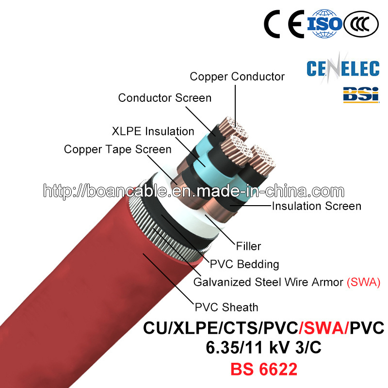 Cu/XLPE/Cts/PVC/Swa/PVC, Power Cable, 6.35/11 Kv, 3/C (BS 6622)