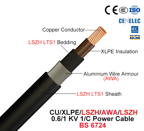Cu/XLPE/Lszh/Awa/Lszh, 1/C Power Cable, 0.6/1 Kv (BS 6724)
