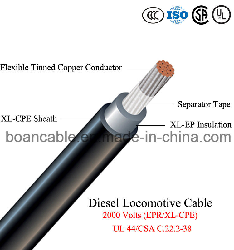 Diesel Locomotive Cable 2kv, Epr/XL-CPE, UL 44/CSA C. 22.2-38