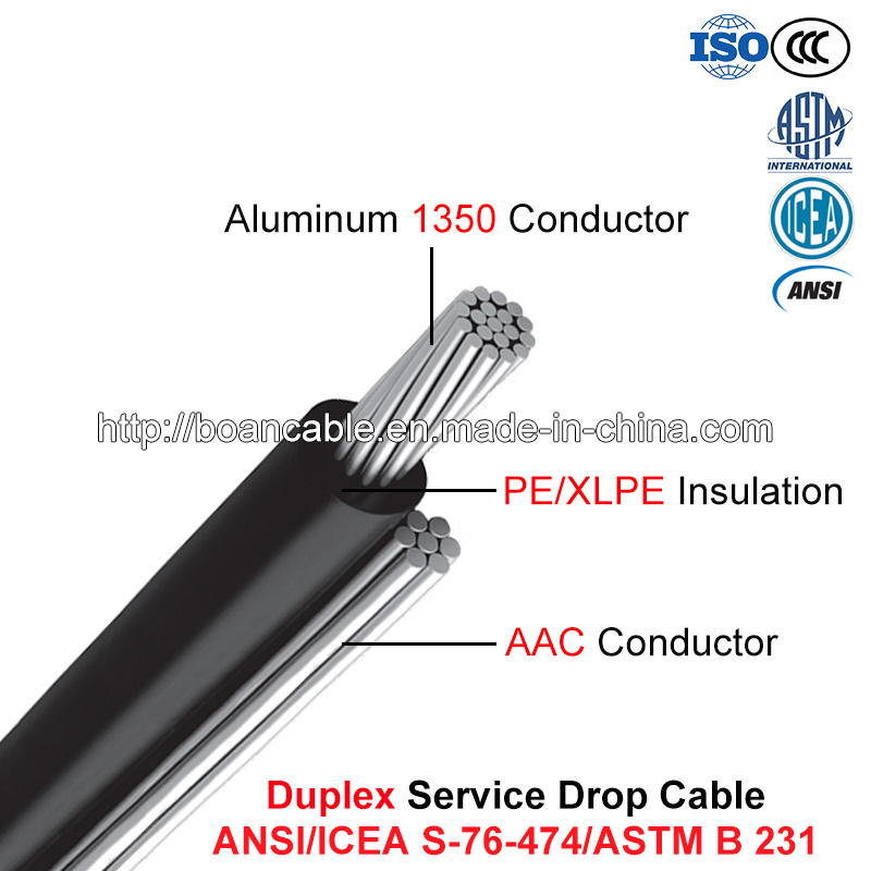 Duplex Service Drop Cable, 600 V, Al/XLPE or Al/PE with AAC Neutral, (ANSI/ICEA S-76-474)