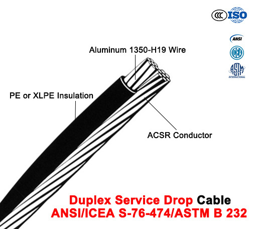 Duplex Service Drop Cable with ACSR Neutral, Twisted 600 V Duplex (ANSI/ICEA S-76-474)