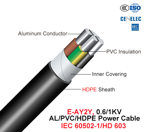 E-Ay2y, Power Cable, 0.6/1 Kv, Al/PVC/HDPE (HD 603/IEC 60502-1)