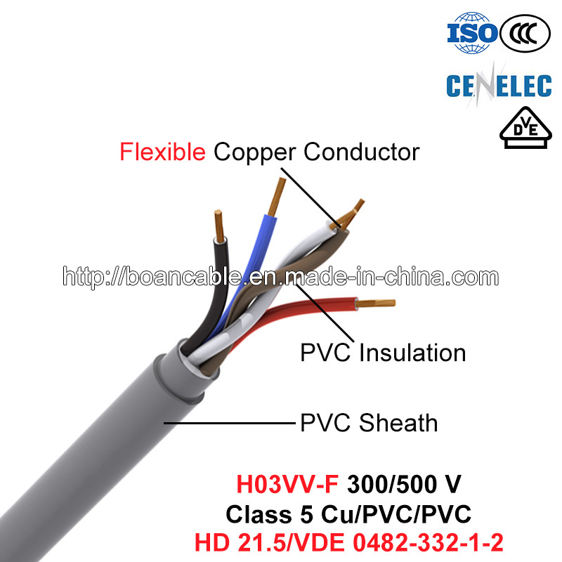 H03VV-F, Electric Wire, 300/500 V, Flexible Cu/PVC/PVC (HD 21.5/VDE 0482-332)