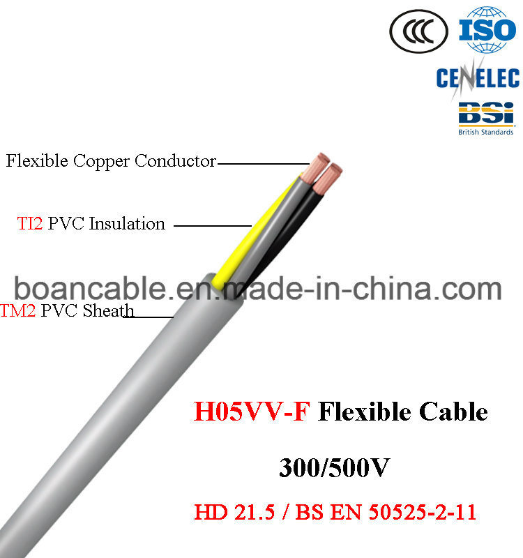 H05VV-F, Flexible Copper PVC Cable, BS En 50525-2-11, 300/500V