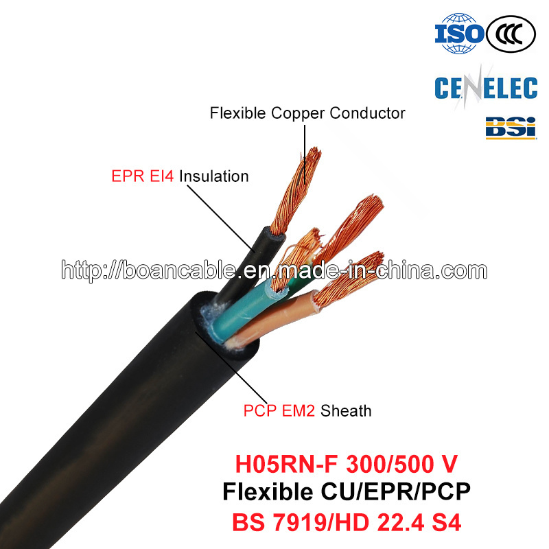H05rn-F, Rubber Cable, 300/500 V, Flexible Cu/Epr/Pcp (BS 7919/VDE 0282-4)