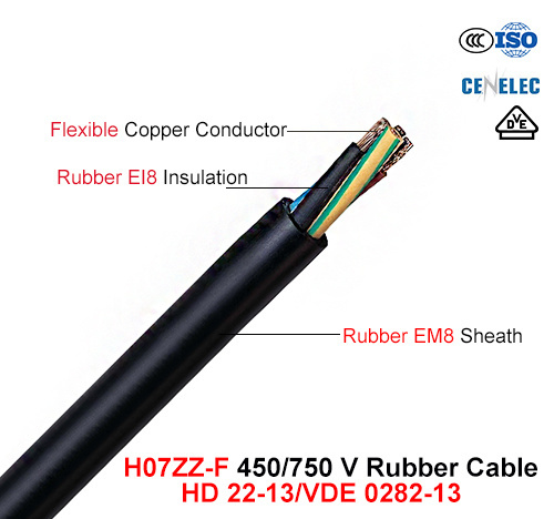 H07zz-F, Rubber Cable, 450/750 V, Flexible Rubber Cable (VDE 0282-13)