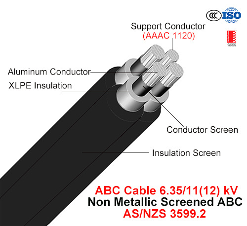 Hv ABC Cable, Aerial Bundled Cable, Al/XLPE+AAAC, 3/C+1/C, 6.35/11 Kv (AS/NZS 3599.2)