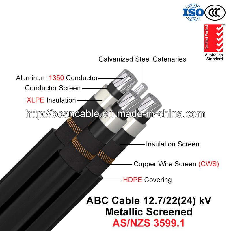 Hochspg ABC Cable, Aerial Bundled Cable, Al/XLPE/Cws/HDPE+Gsw, 3/C+1/C, 12.7/22 KV (AS/NZS 3599.1)