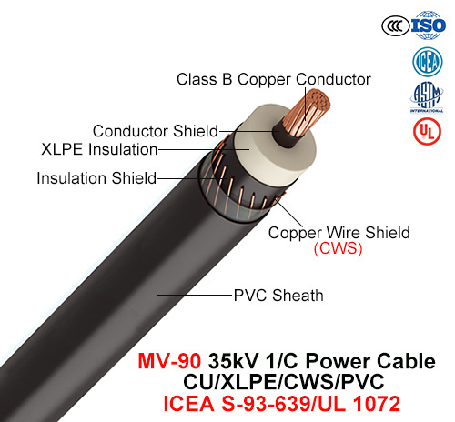 Mv-90, Power Cable, 35 Kv, 1/C, Cu/XLPE/Cws/PVC (ICEA S-93-639/NEMA WC74/UL 1072)