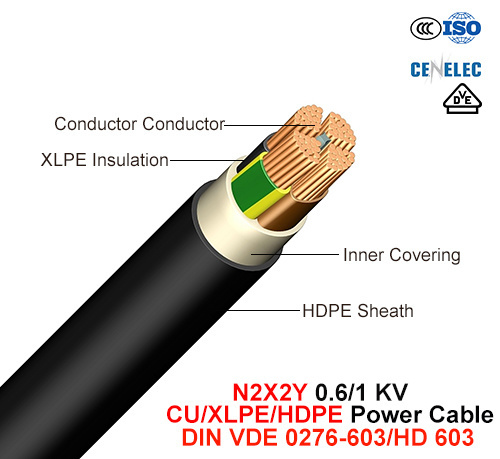 N2X2y, Power Cable, 0.6/1 Kv, Cu/XLPE/HDPE (DIN VDE 0276-603/HD 603)