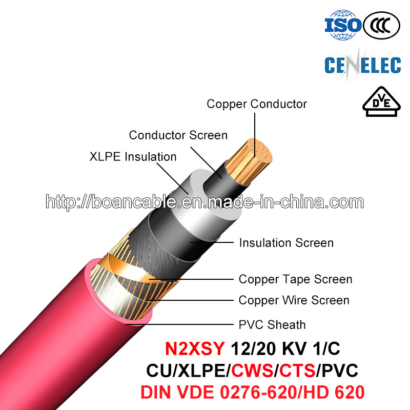 N2xsy, Power Cable, 12/20 Kv, 1/C, Cu/XLPE/Cws/PVC (HD 620 10C/VDE 0276-620)