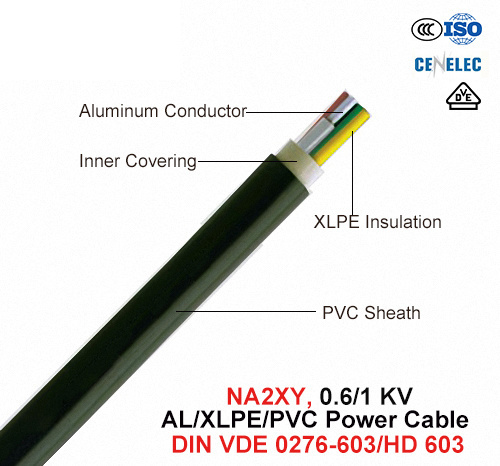 Na2xy, Power Cable, 0.6/1 Kv, Al/XLPE/PVC (DIN VDE 0276-603/HD 603)
