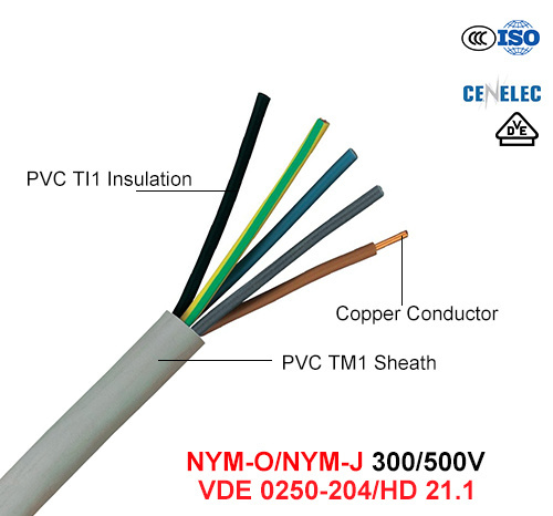 Nym, Electric Wire, 300/500 V, Cu/PVC/PVC Cable (VDE 0250-204/HD 21.1)