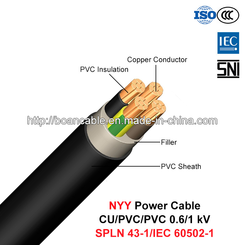 Nyy, Low Voltage Power Cable, 0.6/1 (1.2) Kv, Cu/PVC/PVC (SPLN 43-1/IEC 60502-1)