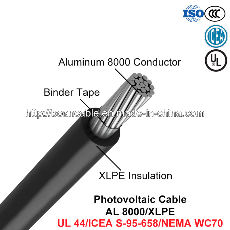 Photovoltaic Cable, Power Cable, Al 8000/XLPE (UL 44/ICEA S-95-658/NEMA WC70)