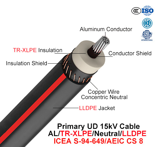 Primary Ud Cable, 15 Kv, Al/Tr-XLPE/Neutral/LLDPE (AEIC CS 8/ICEA S-94-649)