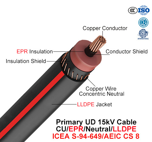 Primary Ud Cable, 15 Kv, Cu/Epr/Neutral/LLDPE (AEIC CS 8/ICEA S-94-649)
