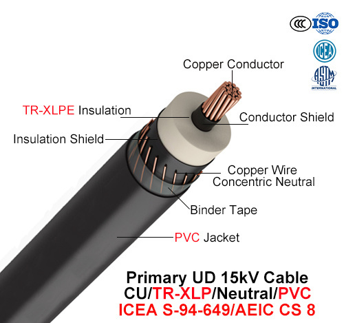Primary Ud Cable, 15 Kv, Cu/Tr-XLPE/Neutral/PVC (AEIC CS 8/ICEA S-94-649)