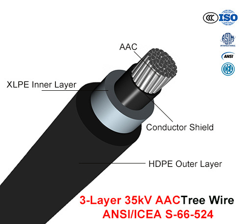 Tree Wire Cable 35 Kv 3-Layer AAC (ANSI/ICEA S-66-524)