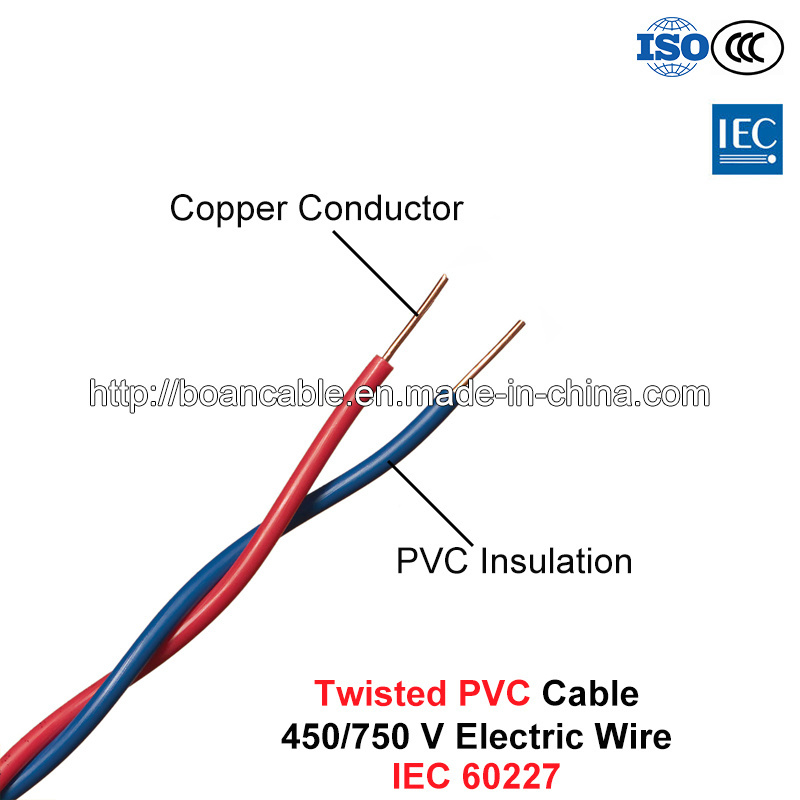 Twisted PVC Cable, Electric Wire, 450/750 V, Twisted Cu/PVC (IEC 60227)