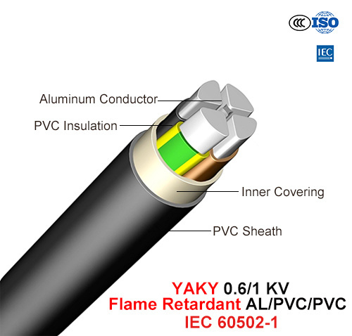 Yaky, Power Cable, 0.6/1 Kv, Flame Retardant Class C Al/PVC/PVC (IEC 60502-1)