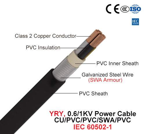 Yry, Power Cable, 0.6/1 Kv, Cu/PVC/PVC/Swa/PVC (IEC 60502-1)