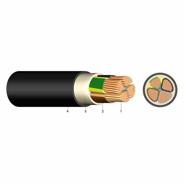 Nyy, Nyy-J, Nyy-O Copper PVC Insulation Flame Retardant PVC Sheath Power Cable