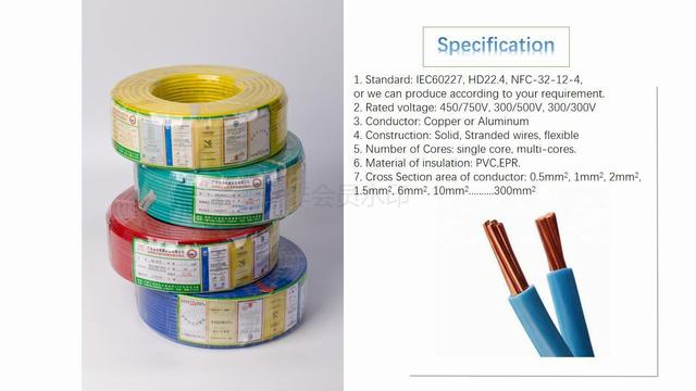 300/500V Copper Conductor PVC Insulated PVC Sheathed Electric Wire