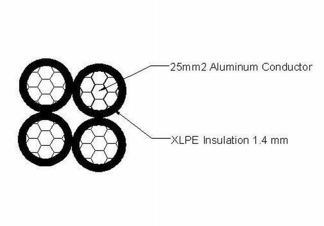 Aerial Service Cable 4X25 mm; , Alu – NFC 33 209