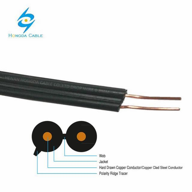 Hard Copper Wire 2 Core 0.8mm 0.71mm PVC/PE Drop Wire Telephone Cable
